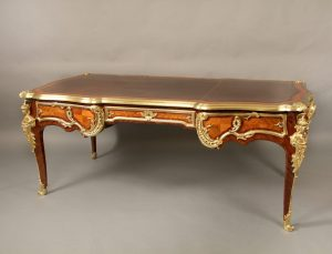 Very Fine Late 19th Century French Antique - Gilt Bronze Mounted Kingwood Bureau Plat