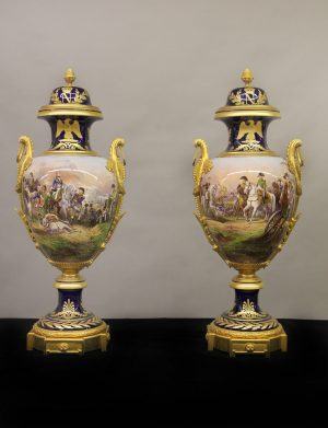 Fine Pair of Late 19th Century Porcelain Vases for Sale- Gilt Bronze Mounted Napoleonic Sevres Style Vases