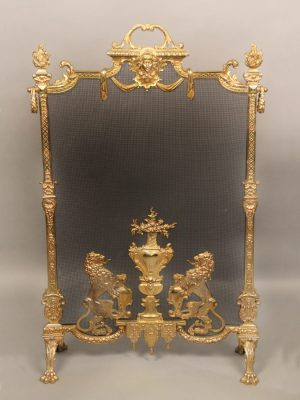 19th Century Regence Style Gilt Bronze and Wire Mesh Firescreen