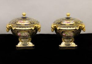 A Pair of Late 18th / Early 19th Century English Royal Crown Derby Porcelain Vases
