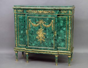 Excellent Late 19th Century Malachite Furniture - Gilt Bronze Mounted Louis XVI Style Malachite Cabinet