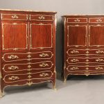 Fine Companion Pair of Early 20th Century Gilt Bronze Mounted Louis XV Style Chest of Drawers by Francois Linke