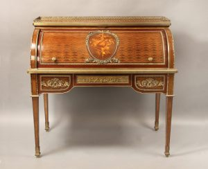 Excellent Quality 19th Century French Antique - Gilt Bronze Mounted Marquetry & Parquetry Bureau A Cylindre by Francois Linke