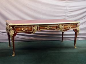 Fantastic Late 19th Century French Antique - Louis XV Style Gilt Bronze Mounted Inlaid Parquetry Bureau Plat