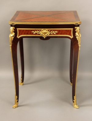 Wonderful Late 19th Century Gilt Bronze Mounted Parquetry Envelope Game Table by Francois Linke