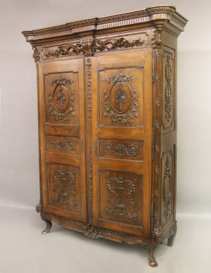 Palatial Late 18th Century Antique French Bedroom Piece - Louis Xvi Hand Carved Walnut & Mahogany Armoire