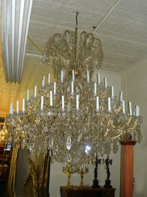 Formally hung in the Academy of Music in PA: 19th / 20th Century 64 Light Maria Theresa Chandelier