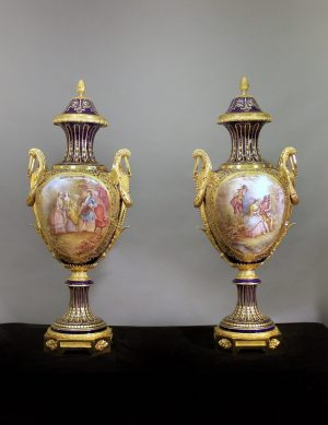 19th Century Gilt Bronze Mounted Sèvres Style Cobalt Blue Porcelain Vases and Covers