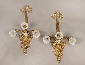 A Pair of Late 19th Century Antique Gilt Bronze Three Light Arm Sconces with Rose Shades